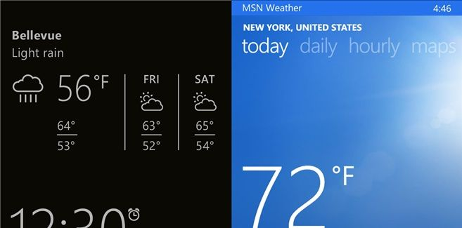weather app and glance screen information