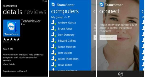 TeamViewer app for windows phone