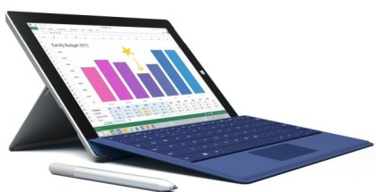 Microsoft Surface 3 Tablet front side pen and keyboard
