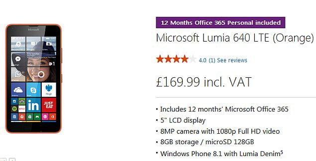 Microsoft Store selling Lumia 640 in the UK