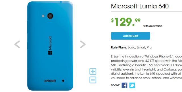 Cricket Wireless sells Lumia 640