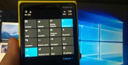 action center windows 10 mobile
