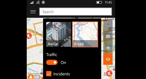 Windows Maps now shows traffic information and incidents