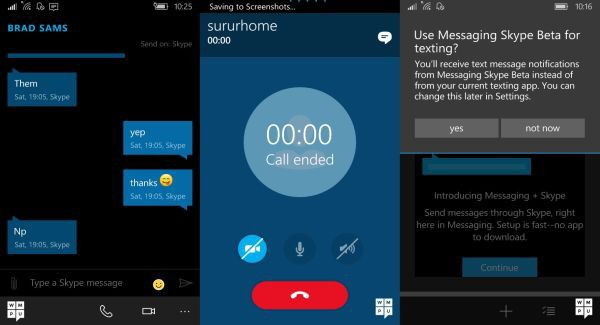 Messaging + Skype in Windows 10 Mobile