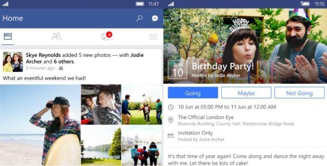 Redesigned Facebook Beta for Windows 10 Mobile