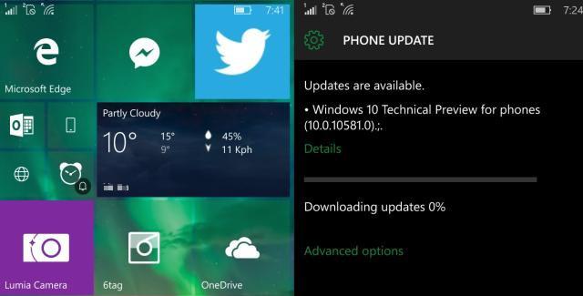 windows 10 10581 build mobile
