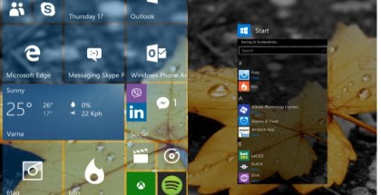 WIndows 10 start screen tiles