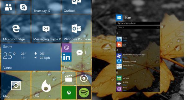 WIndows 10 start screen tiles
