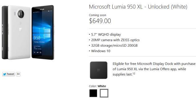 Lumia 950 XL free dock for Continuum
