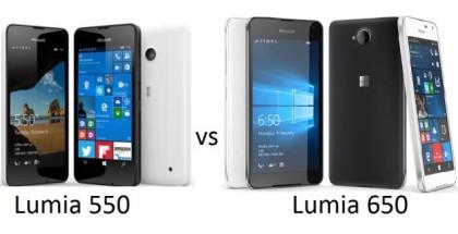 Microsoft Lumia 550 versus Lumia 650