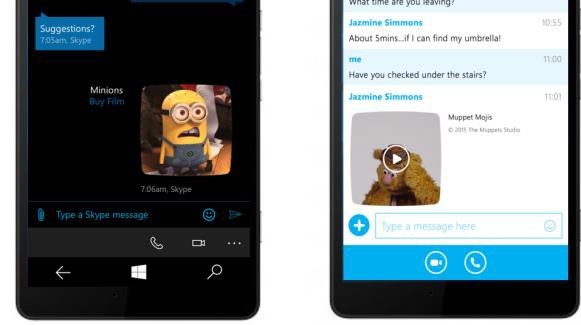 Skype for Windows pHone photo sharing