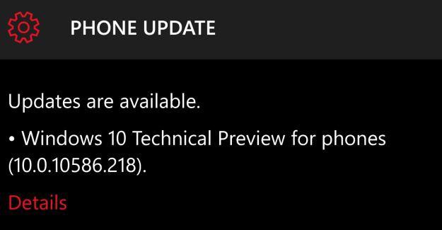 Windows 10 Mobile 10586.218