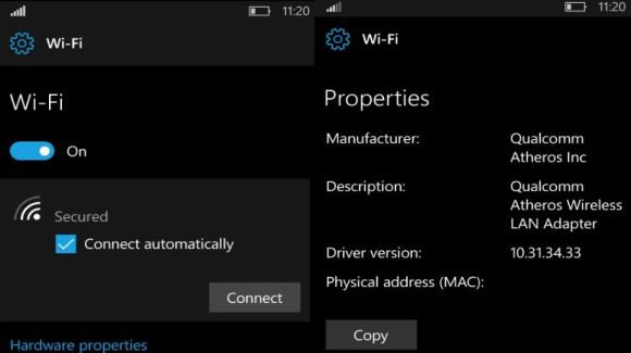 WiFi settings Redstone 2