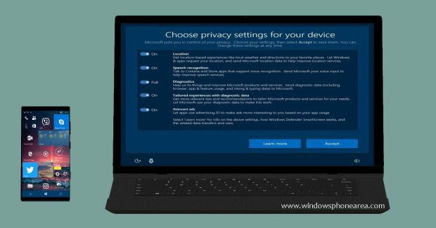 Privacy setup exprience Windows 10 Creators update
